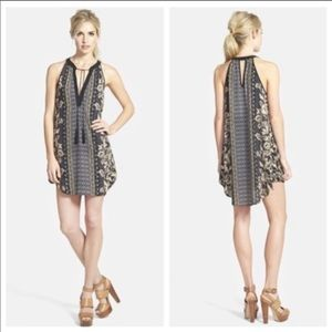 Astr the Label Black Floral Boho Tank Dress - Lrg